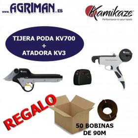 KIT VIÑA TIJERA KV700 + ATADORA KV3 KAMIKAZE AGRIMAN