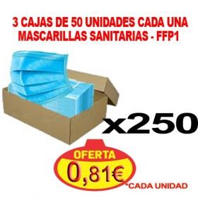 3 CAJAS DE 50 UNIDADES DE MASCARILLAS FFP1 SANITARIAS DE PROTECCIÓN 3 CAPAS