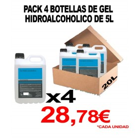 4 GARRAFAS DE GEL HIDROALCOHOLICO 5L