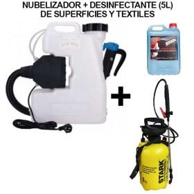 mochila nebulizadora electrica crv-12-220 + desinfectante superficies+ pulverizador 5L